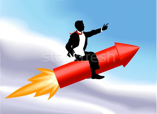 ракета деловой человек иллюстрация сидят Flying воздуха Сток-фото © Krisdog