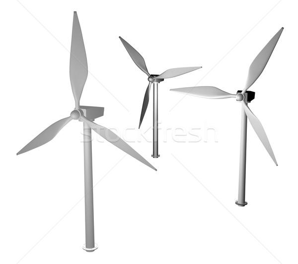 3d greyscale wind turbine Stock photo © Krisdog