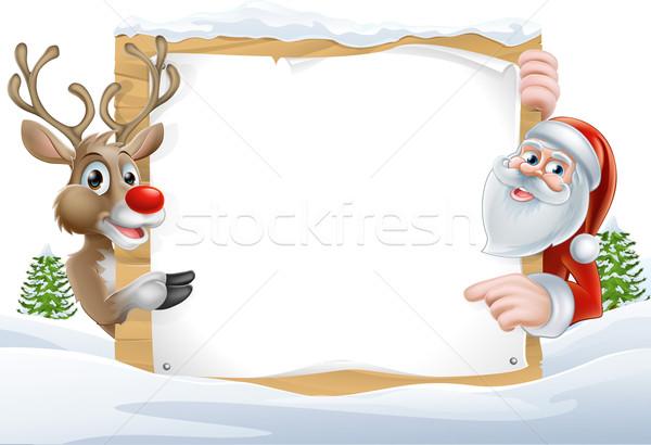 Christmas Santa and Reindeer Sign Stock photo © Krisdog