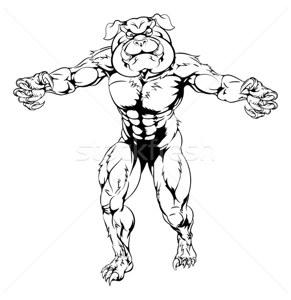 Bulldog character attacking Stock photo © Krisdog