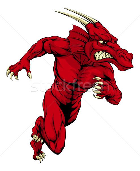 Red dragon mascot sprinting Stock photo © Krisdog