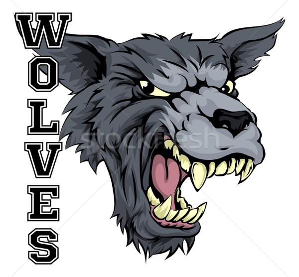 Farkasok sportok kabala illusztráció farkas fej Stock fotó © Krisdog