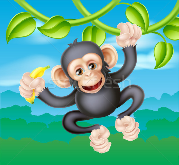 Cartoon Chimp with Banana Stock photo © Krisdog