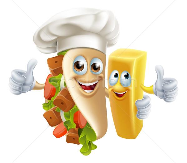 ケバブ チップ 友達 友達 食品 ストックフォト © Krisdog