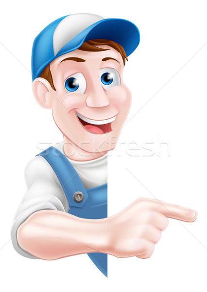 Pointing Cartoon Man Stock photo © Krisdog