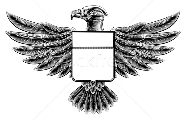 Woodcut Eagle Shield Stock photo © Krisdog