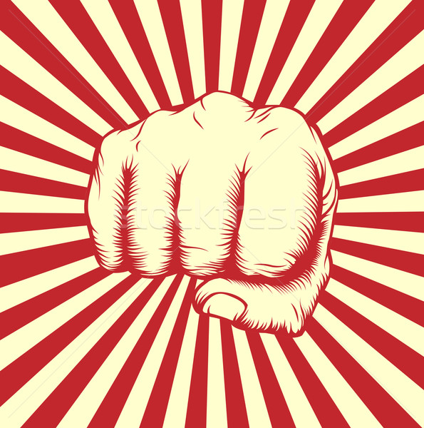 Vintage woodcut fist poster Stock photo © Krisdog