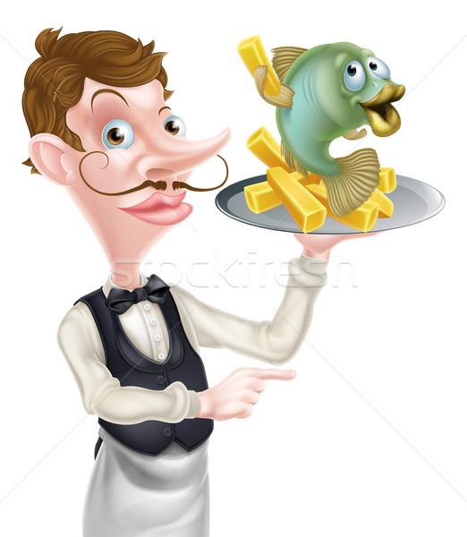 Cartoon poissons puces garçon butler pointant Photo stock © Krisdog