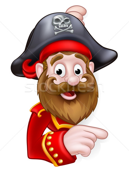 Cartoon Pirate Peeking and Pointing Stock photo © Krisdog
