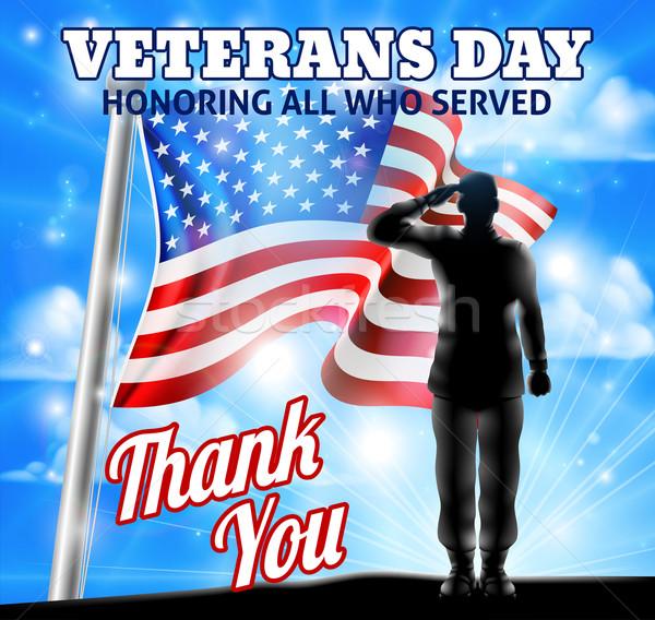 Veterans Day Silhouette Soldier Saluting American Flag Stock photo © Krisdog