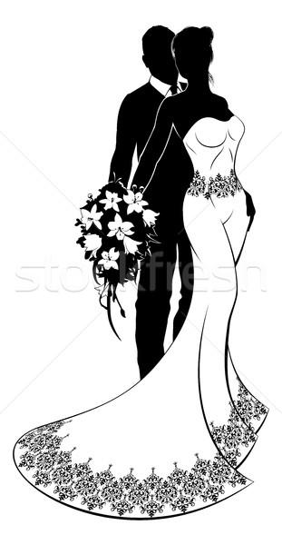 Bride and Groom Wedding Silhouette Stock photo © Krisdog