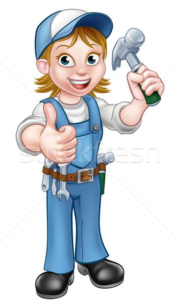 Сток-фото: Cartoon · женщину · плотник · молота · женщины