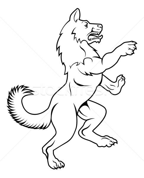 Dog or Wolf in Heraldic Rampant Coat of Arms Pose Stock photo © Krisdog