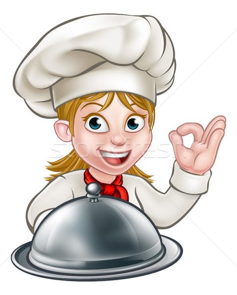 Chef Woman Cartoon Character Mascot Stock photo © Krisdog
