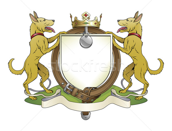 Dog pets heraldic shield coat of arms Stock photo © Krisdog
