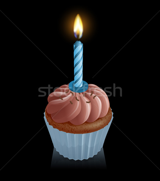 Chocolate fairy cake cupcake with birthday candle Stock photo © Krisdog