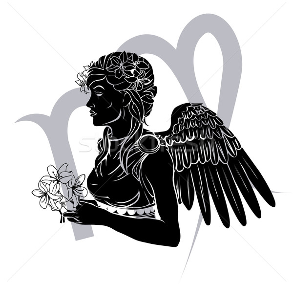 Zodiac horoscope astrologie signe illustration vierge Photo stock © Krisdog