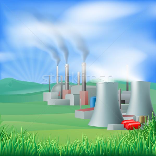 Centrale énergie génération illustration pouvoir électricité Photo stock © Krisdog
