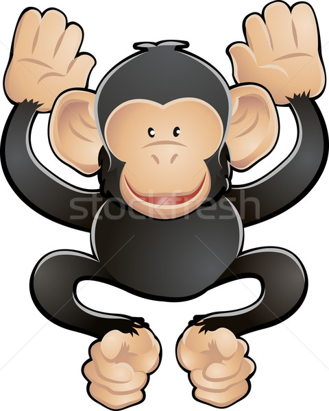Cute chimpansee vector illustratie vriendelijk chimpansee Stockfoto © Krisdog