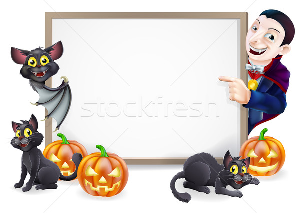Halloween Sign with Dracula and Vampire Bat Stock photo © Krisdog