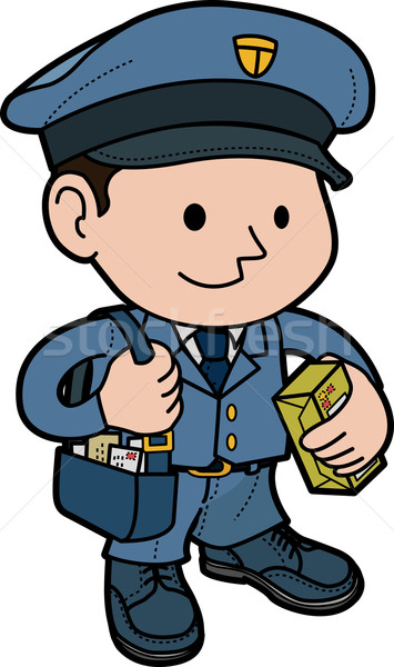 Illustratie postbode uniform post man mail Stockfoto © Krisdog