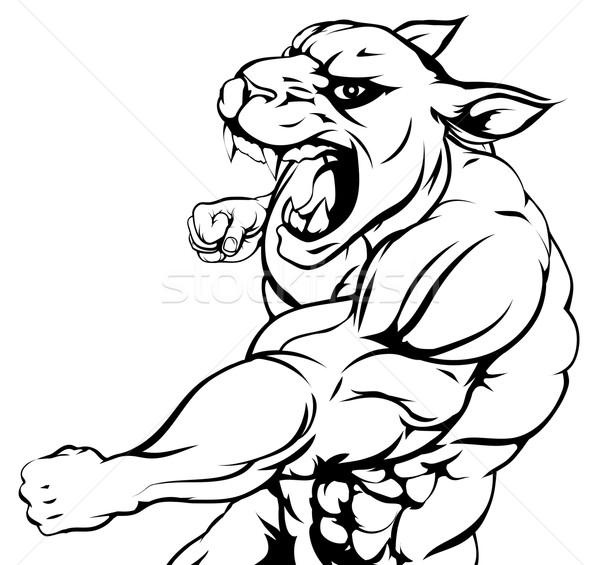 Panther mascot fighting Stock photo © Krisdog