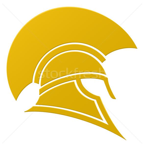 Espartano troiano capacete ícone perfil projeto Foto stock © Krisdog