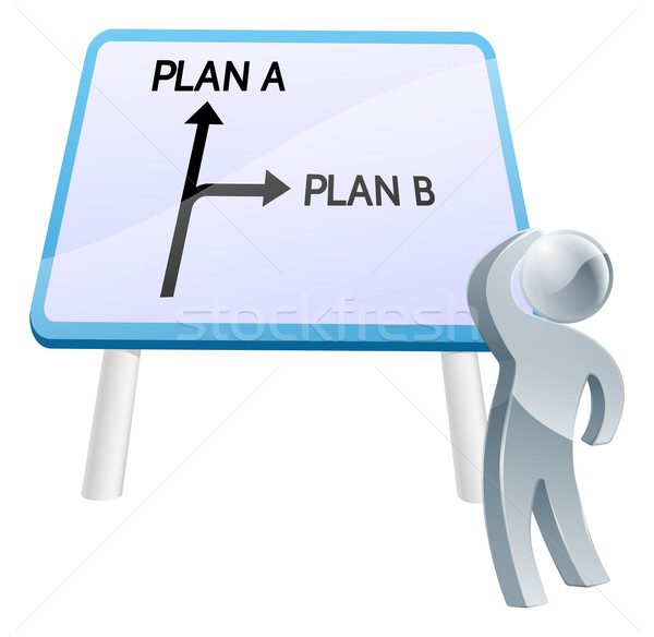 Plan plan b imzalamak adam yön Stok fotoğraf © Krisdog
