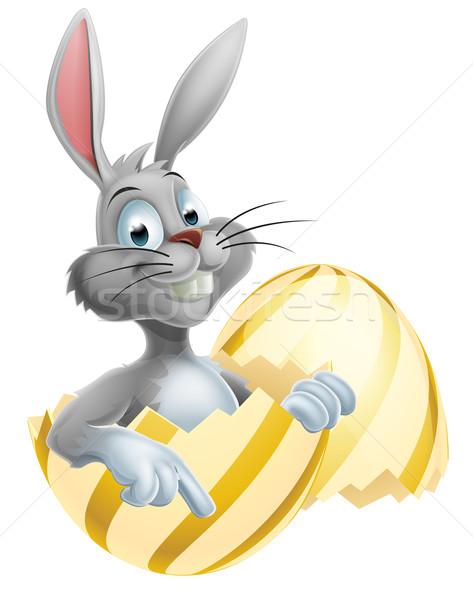 Easter egg witte bunny cartoon gelukkig cute Stockfoto © Krisdog