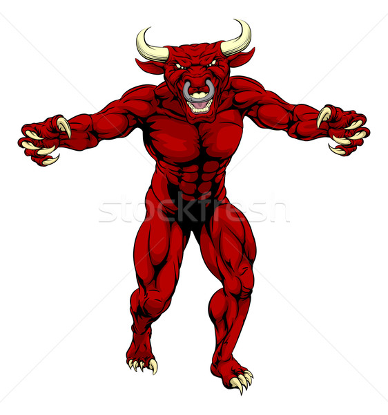 Stock photo: Red bull sports mascot