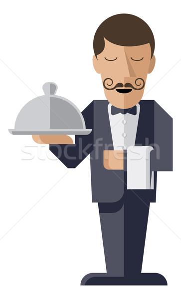 Pincér tart ezüst karakter adag férfi Stock fotó © Krisdog
