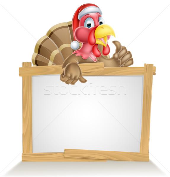 Mikulás kalap Törökország felirat karácsony rajz Stock fotó © Krisdog