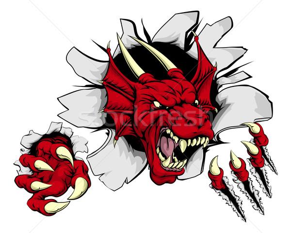 красный дракон коготь прорыв Cartoon Сток-фото © Krisdog