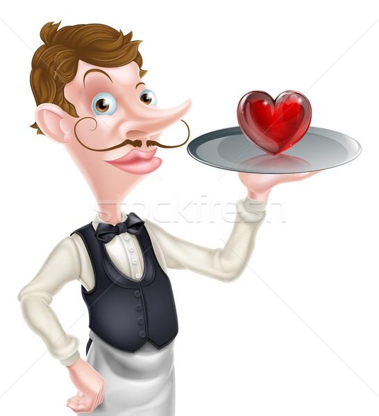 Rajz pincér szív illusztráció tart tálca Stock fotó © Krisdog