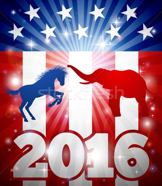 Foto stock: 2016 · americano · eleição · conceito · presidencial · debate