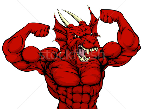 Tough Red Dragon Mascot Stock photo © Krisdog