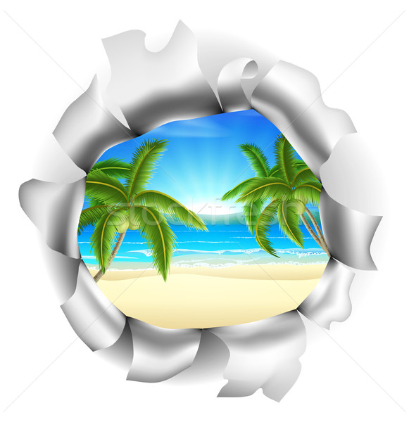 Stock photo: Beach Scene Through Background