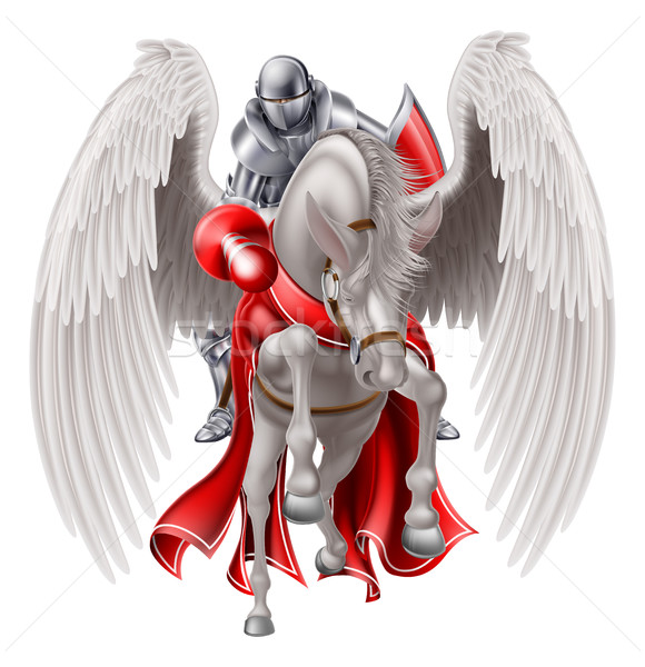 Knight on Pegasus Horse Stock photo © Krisdog