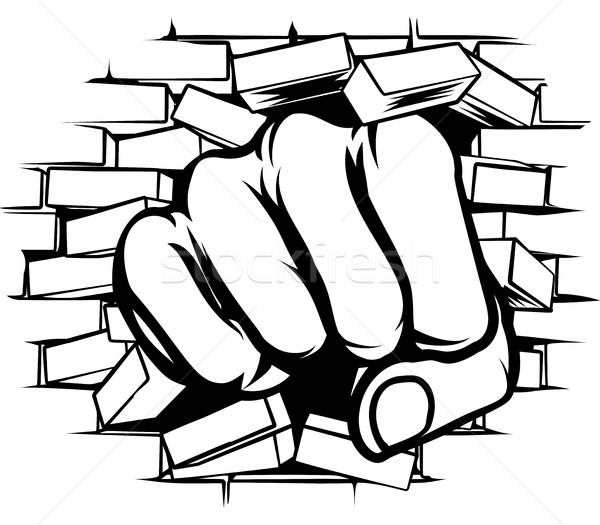 Punching Fist Through Brick Wall Stock photo © Krisdog