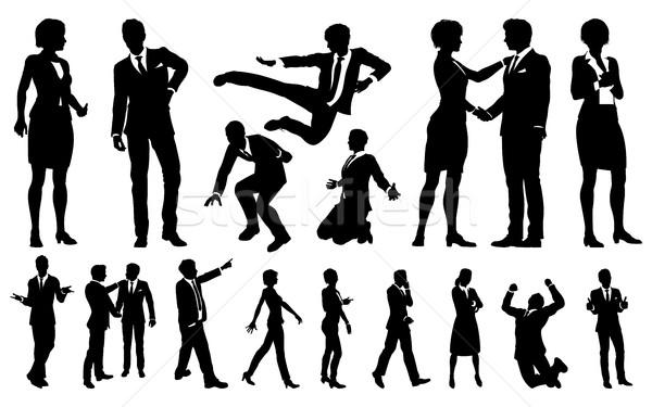 Business Men and Women Silhouettes Stock photo © Krisdog