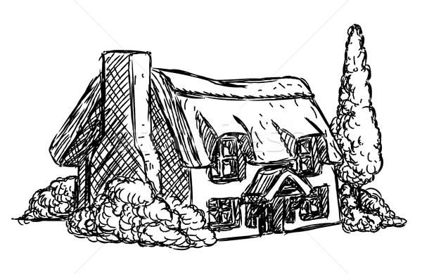 Farm Cottage House Retro Grunge Hand Drawn Style Stock Photo C Krisdog