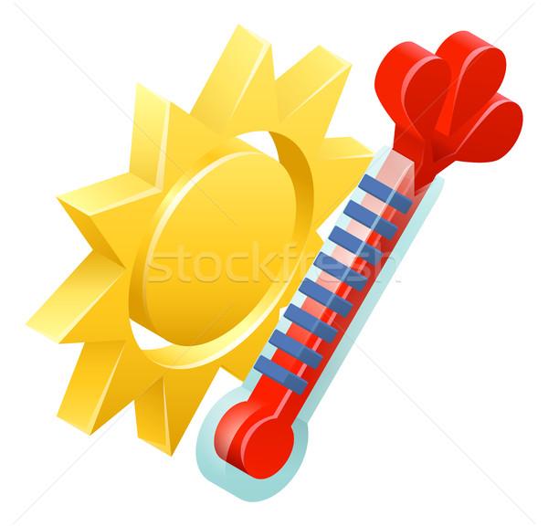 Soleil thermomètre météorologiques icône 3D isométrique Photo stock © Krisdog