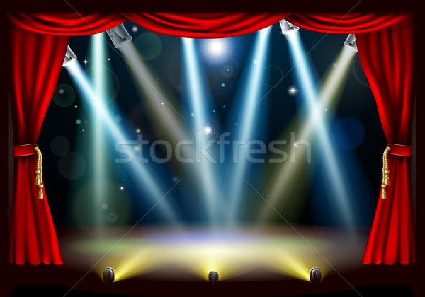 Stockfoto: Spotlight · theater · fase · Rood · gordijn · film
