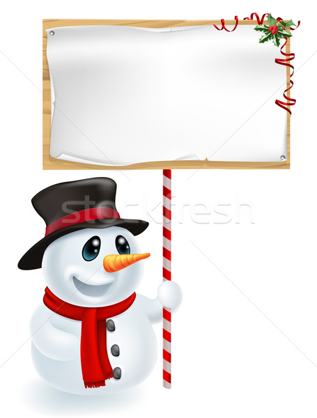 ストックフォト: クリスマス · 雪だるま · にログイン · 幸せ · 笑みを浮かべて