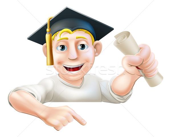 öğrenme mezun adam işaret aşağı örnek Stok fotoğraf © Krisdog