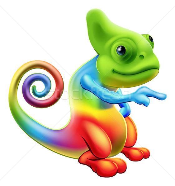 Rainbow chameleon mascot pointing Stock photo © Krisdog