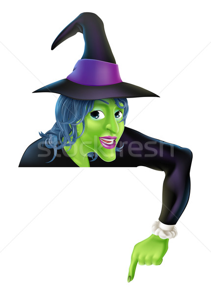 Halloween Witch Pointing Down Stock photo © Krisdog