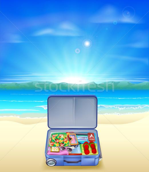 Tropical beach with Suitcase Stock photo © Krisdog
