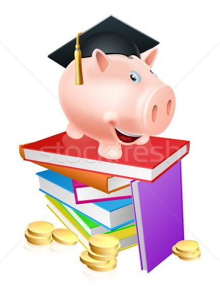 Oktatás pénzügyi persely tábla tudományos sapka Stock fotó © Krisdog