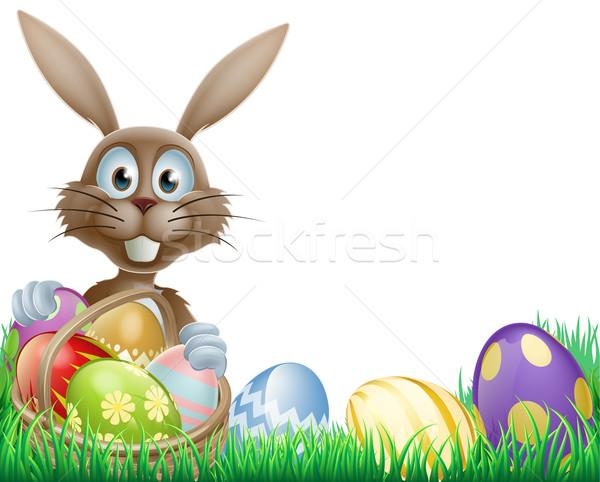 Easter bunny and eggs basket Stock photo © Krisdog